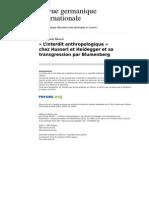 Monod - 2009 - 'L'Interdit Anthropologique' Chez Husserl Et Heidegger Et Sa Transgression Par Blumenberg
