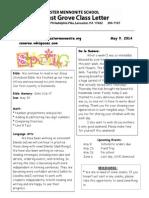 Newsletter 5-9-14