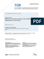 Machinery Investment Decision and Off Farm Employment in Rural China