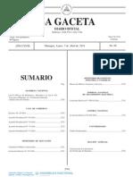 Ley N° 856 Ley de Reformas y Adiciones a la Ley N° 431 - GacetaNo. 66