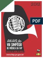 ANAIS-VIII Simposio de Musica FAP 2012