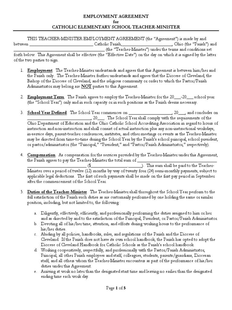 Teacher contract catholic church united states government platinumwayz