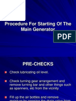 Procedure for Starting of the Main Generator