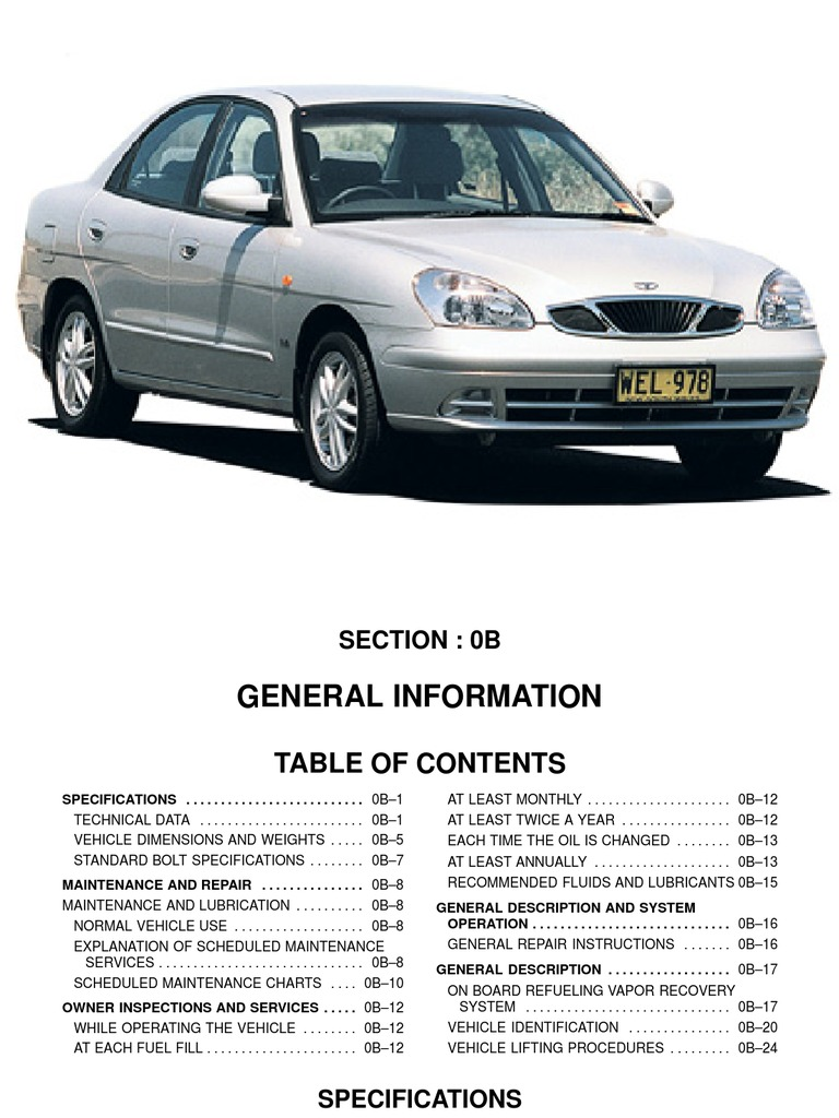 1998 2001 Daewoo Nubira Service Manual Motor Oil Brake Tire Construction  Diagram Daewoo Tire Diagram
