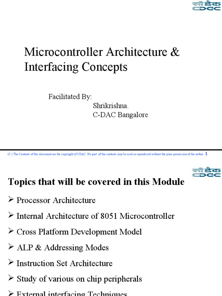 1 Intro 8051 Arch Central Processing Unit Microcontroller
