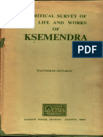 A Critical Survey of the Life and Works of Ksemendra (Rajatbaran Dattaray)