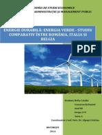 Energia Durabila (Energia Verde - Studiu Comparativ Romania - Italia-Belgia)