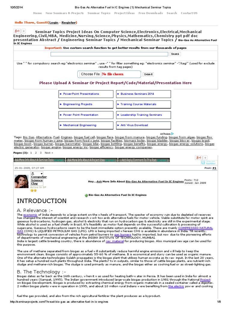 bio gas | Anaerobic Digestion | Internal Combustion Engine