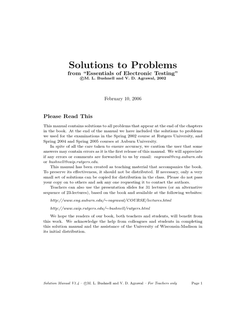 solutions to problems from essentials of electronic testing rh scribd com