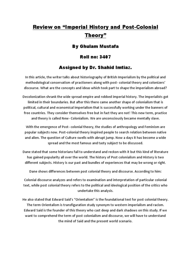"""Review on """"Imperial History and Post-Colonial Theory"""": By"""