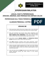 Jadual Peperiksaan Ulangan Penggal 3 Stpm 2013