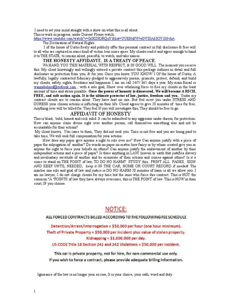 Full Affidavit of Honesty | Arrest | Arrest Warrant
