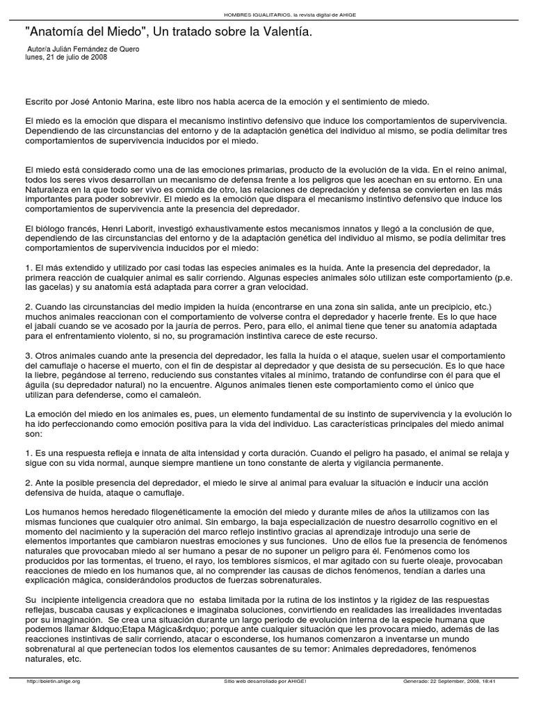 Anatomía Del Miedo - J.a. Marina