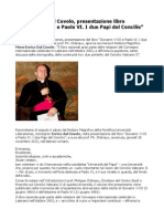 """Mons Dal Covolo, presentazione del libro """"Giovanni XXIII e Paolo VI. I due Papi del Concilio"""""""