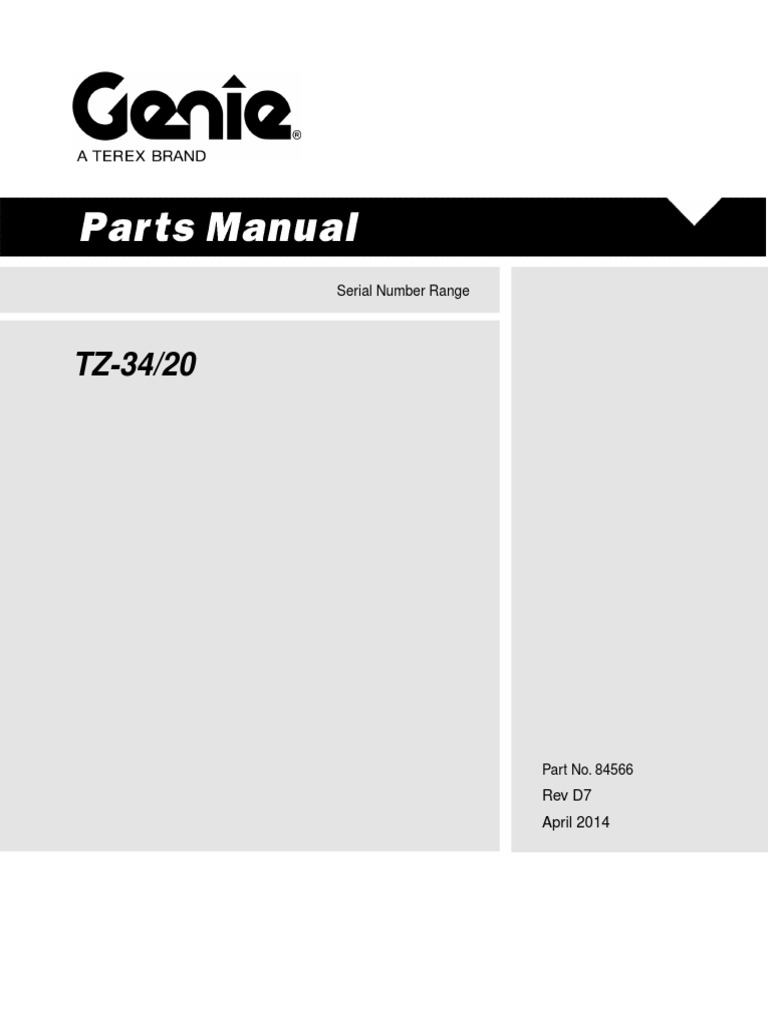 Parts Manual Manlift Genie Tz 34 20 Washer Hardware