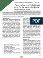 Socioeconomic Factors Influencing Profitability of Cattle Marketing in Gombe Metropolis Nigeria