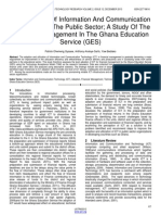 The Adoption of Information and Communication Technology in the Public Sector a Study of the Financial Management in the Ghana Education Service Ges