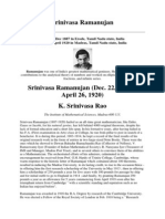 The prodigal mathematician-Srinivasa Ramanujan