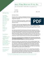 Brooklyn Bridge Park Defense Fund Letter to Mayor Deblasio