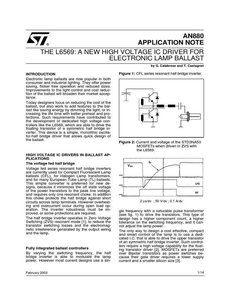 L6569 App Fluorescent Driver Mosfet Lamp 4w