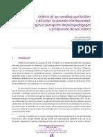 análisis de las variables que facilitan y dificultan la atención a la diversidad, según la percepción de psicopedagogos y profesorado de secundaria