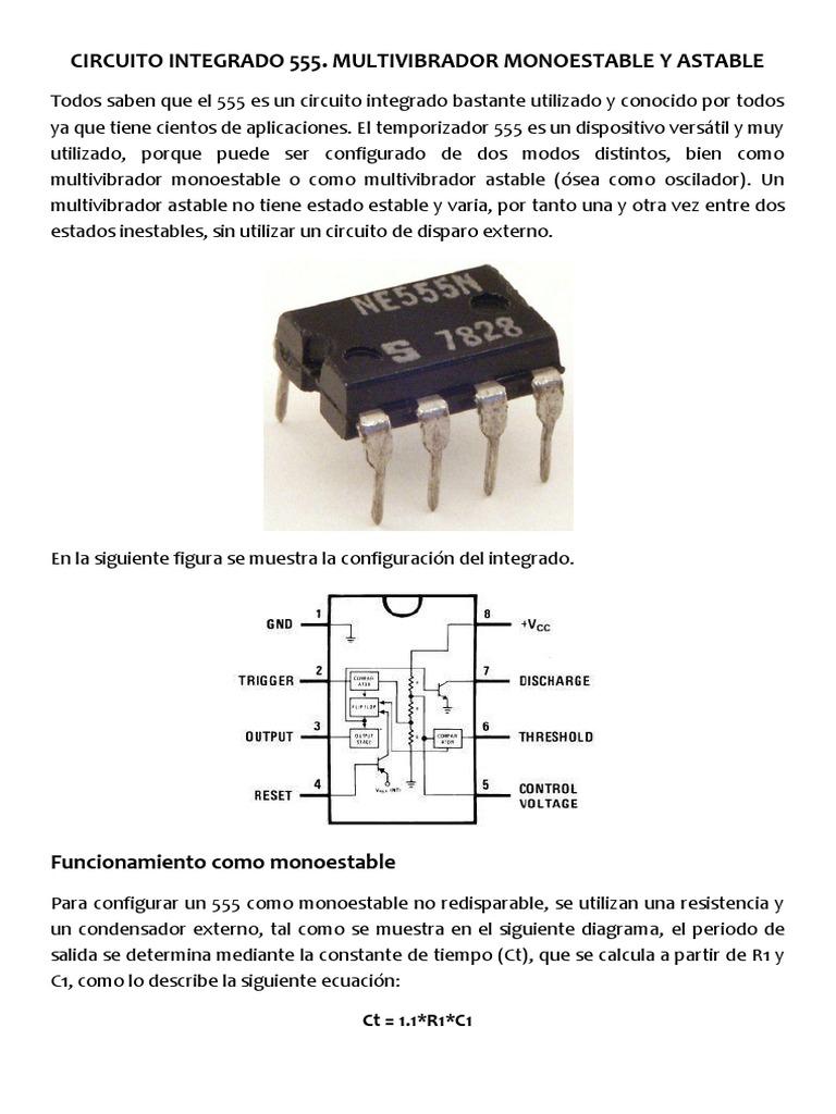 Circuito Monoestable 555 : Circuito integrado multivibrador monoestable y