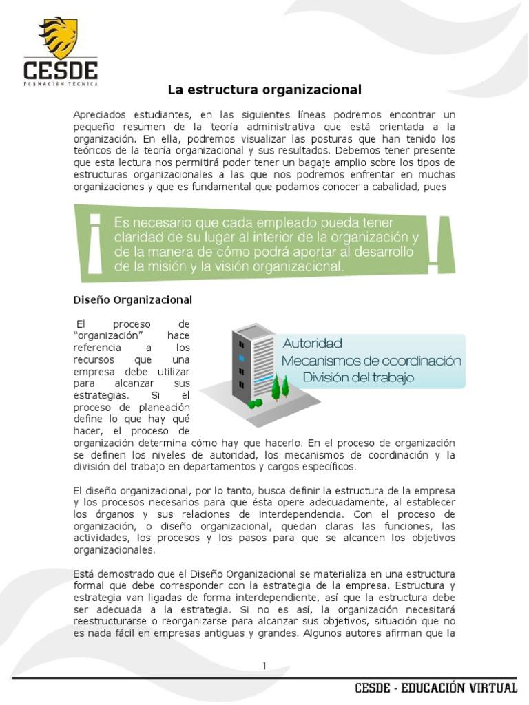La Estructura Organizacional Tema 4 Diseño Toma De
