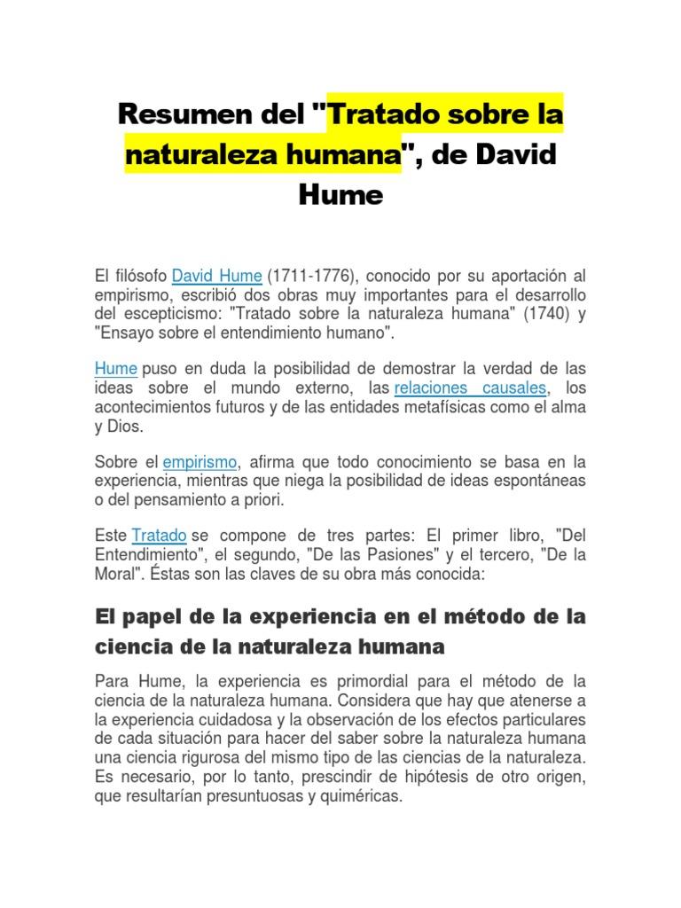 Resumen Del Tratado Sobre La Naturaleza Humana