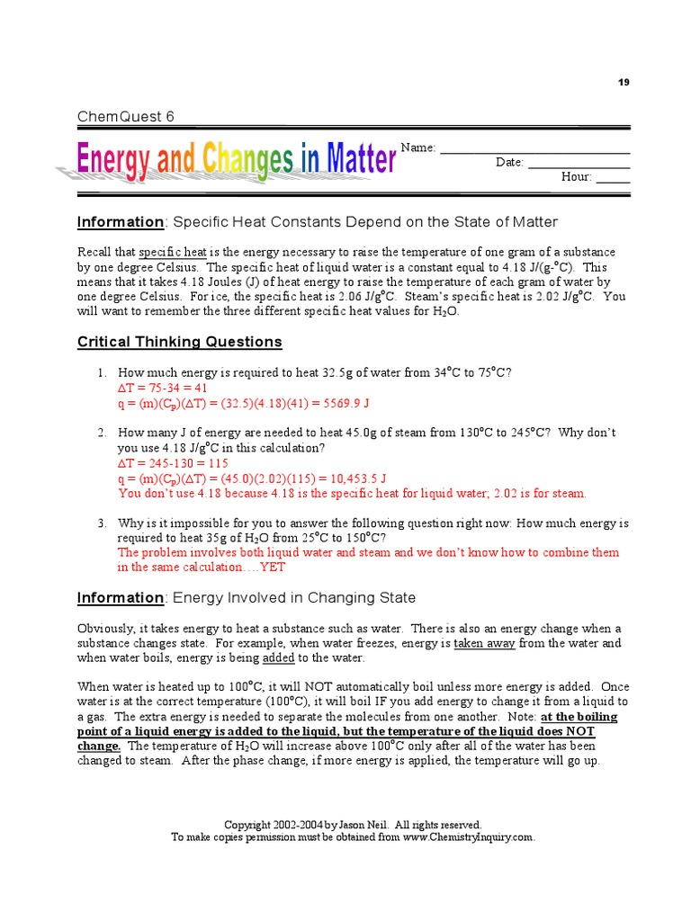 chem quest 6 answers | Heat | Heat Capacity