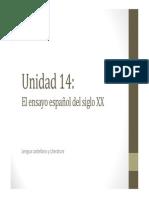 U14. El Ensayo Español Del Siglo XX