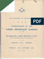 Lord Heneage Lodge Consecration Program 1944