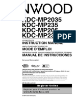 Manual Frontal Carro Kenwood Kdc-2035