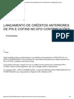 Lançamento de Créditos Anteriores de Pis e Cofins No Efd Contribuições - 2014 - Contabilidade - Patrick de Moraes Vicente - Araruama - RJ - Brasil