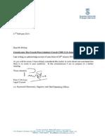 Letter from Swansea University to Crocels