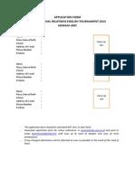 FORMULIR PENDAFTARAN INTERNATIONAL RELATIONS DEBATE TOURNAMENT 2014