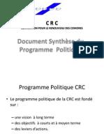 Presentation Projet Politique du Parti CRC