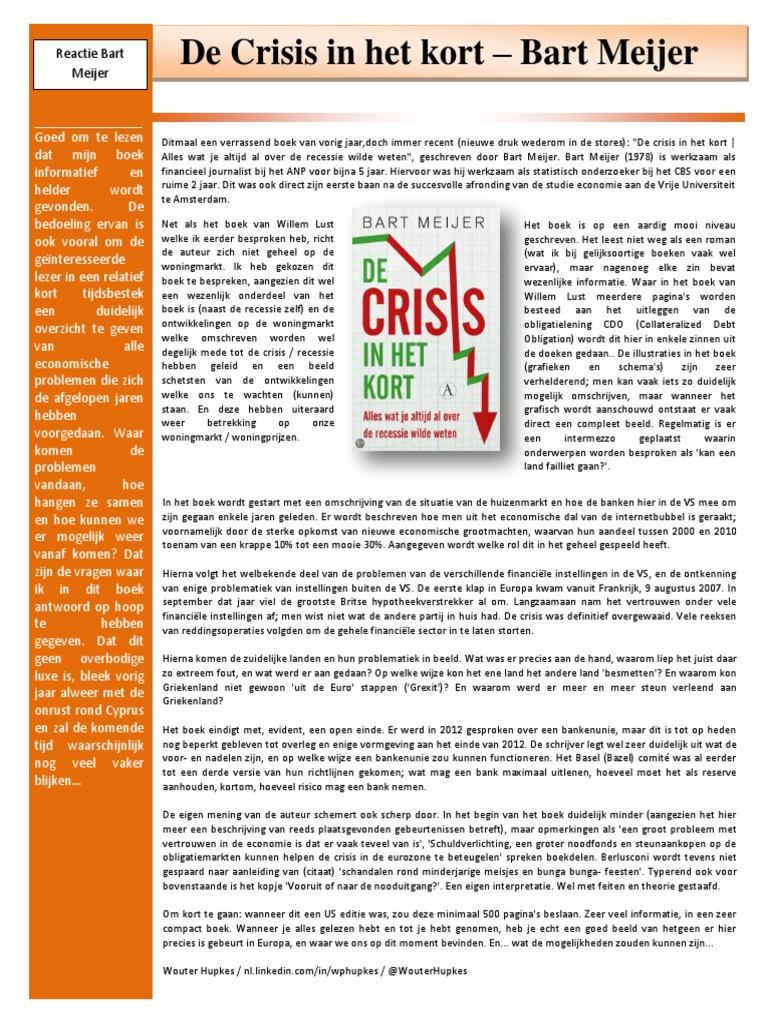 Boekbespreking Crisis In Het Kort Bart Meijer