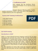 Various Certifications in SAP