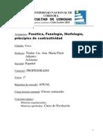 Fonetica Fonologia Morfologia Espanolas y Principios de Contrastividad