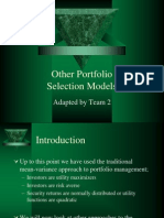 Other Portfolio Selection Models Ch11