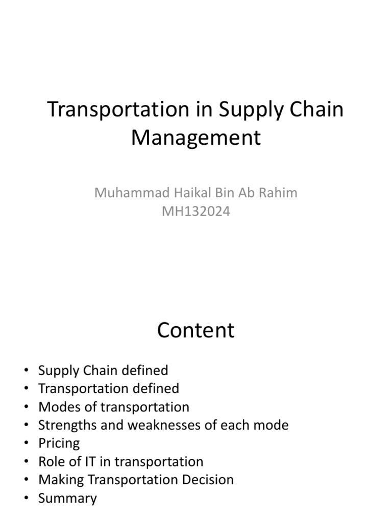 Transportation SCM | Transport | Supply Chain