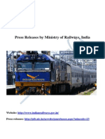 Indian Railways press releases by Ministry of Railways, India.