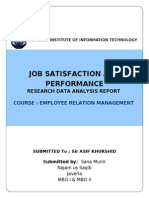 Data Analysis Reserach Report on Between Employee Satisfaction and Performance