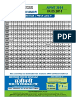 AIPMT 2014 Answer Key CODE P Revised