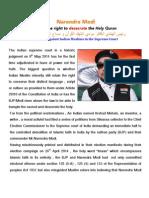 Hindu Modi desecrates the Holy Quran