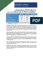 MoneyMax Announces 45.9% Rise in Q1-2014 Revenue to S$19.2 million