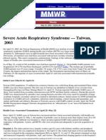 Severe Acute Respiratory Syndrome --- Taiwan, 2003