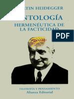 Heidegger Martin - Ontologia Hermeneutica de La Facticidad