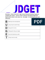 budgeting first word activity