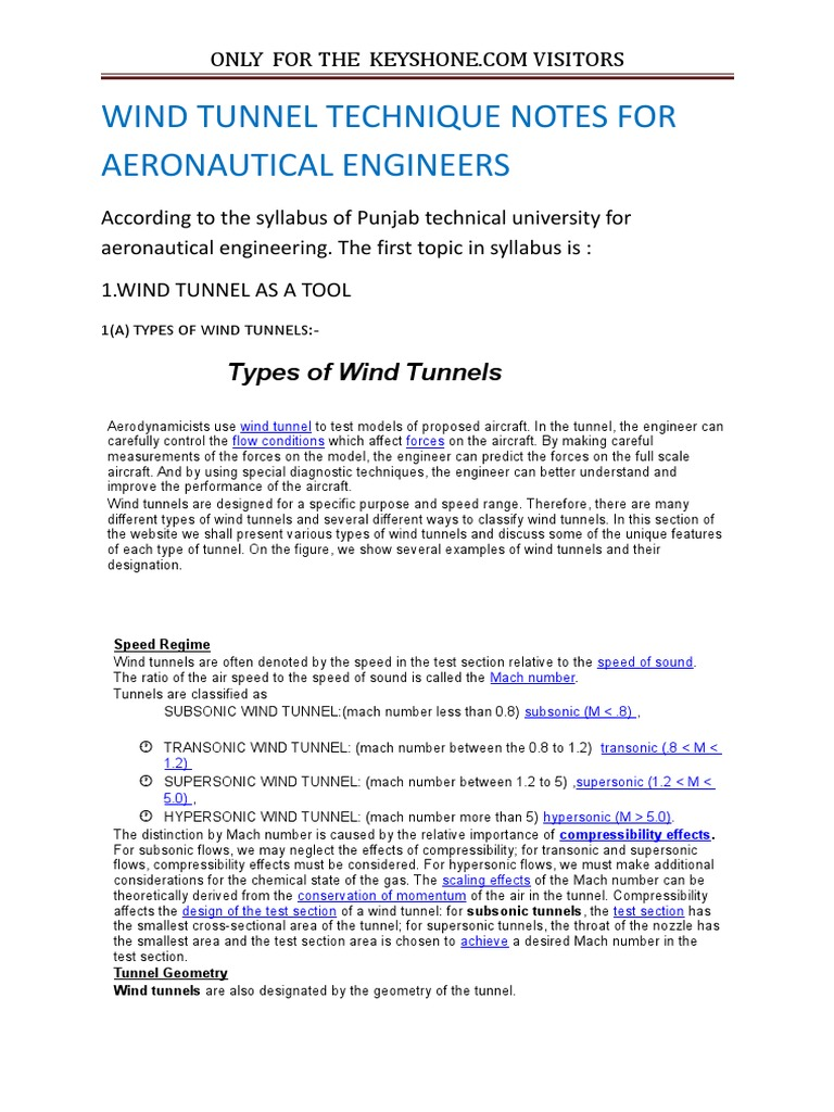 Wind Tunnel Technique Notes For Aeronautical Engineers: Types of